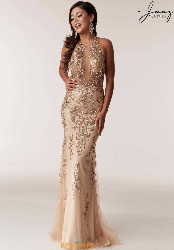 Jasz Couture Beaded Halter Dress 6295