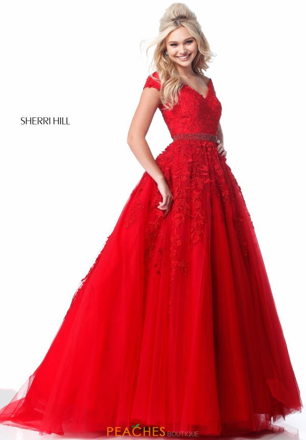 Sherri Hill Cap Sleeved A Line Dress 51905