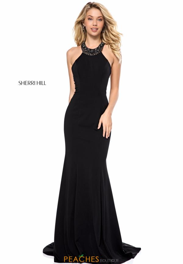 Sherri Hill Halter Fitted Dress 51317