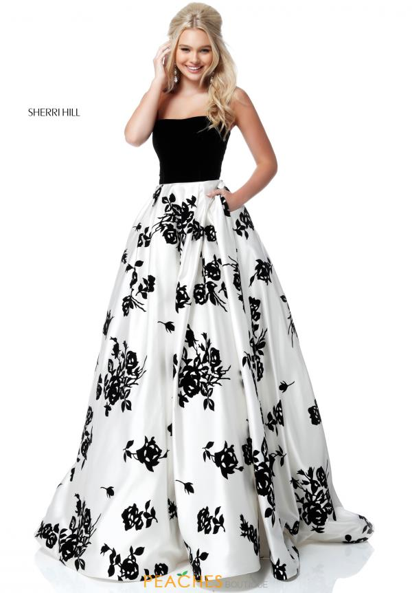 Sherri Hill Velvet Strapless Dress 51685. Black/Ivory ...