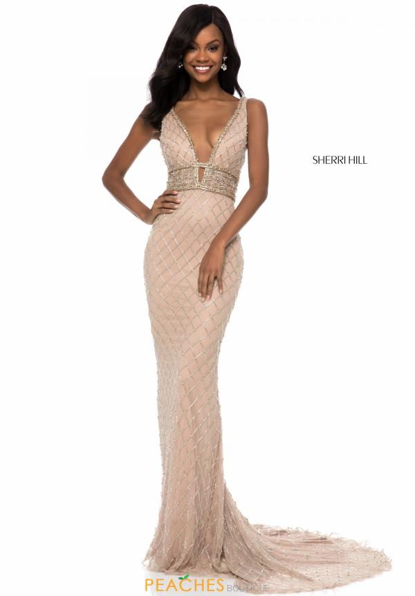 Sherri Hill V-Neck Beaded Dress 51788