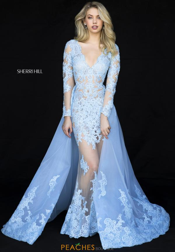 Sherri Hill Long Sleeve Applique Dress 52026