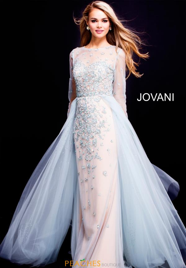 Jovani Long Sleeved Beaded Dress 53743