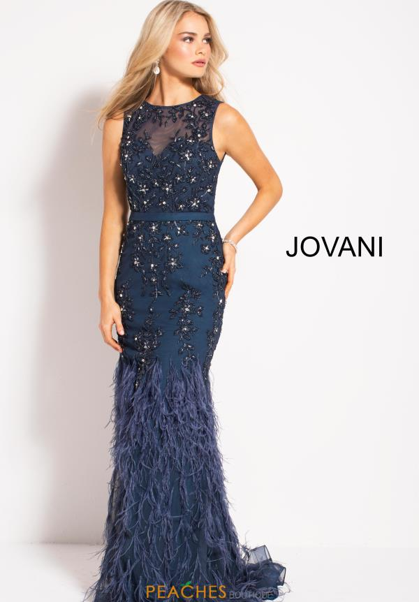 Jovani Feather Skirt Long Dress 54462