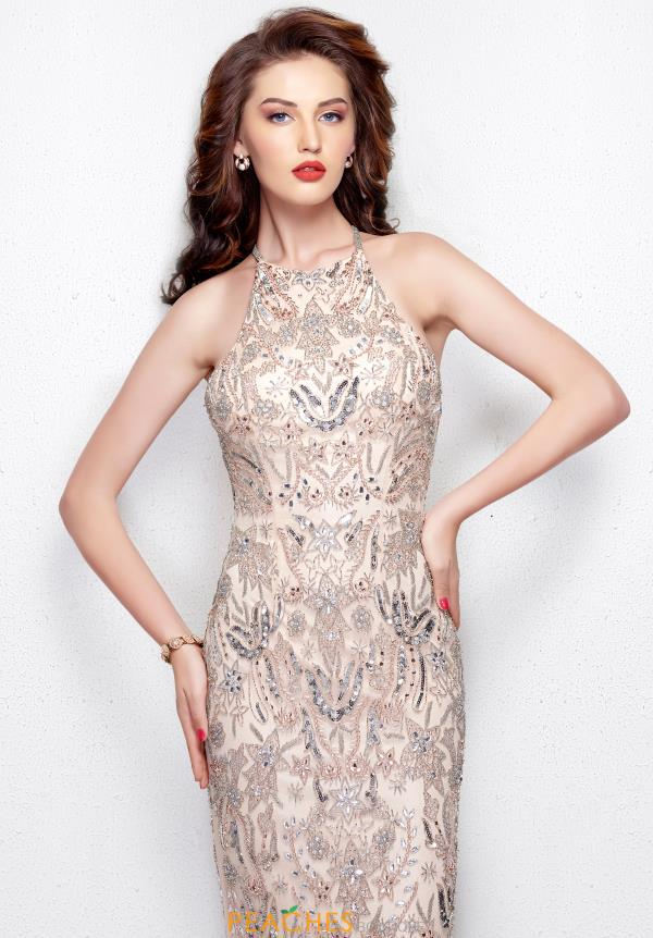 Primavera High Neckline Beaded Dress 3007