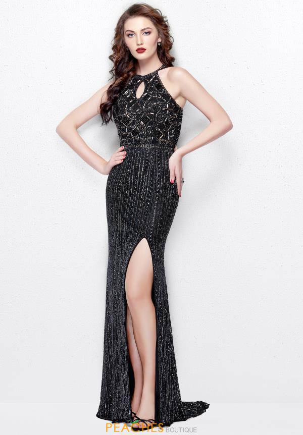 Primavera High Neckline Beaded Dress 3013