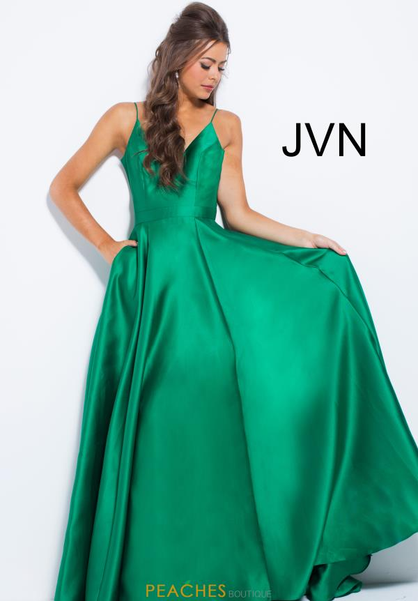 JVN by Jovani V-Neck Satin Dress JVN48791