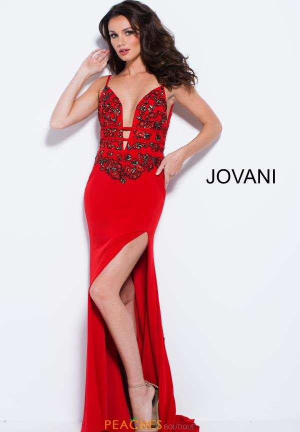 Jovani V- Neckline Red Dress 59692
