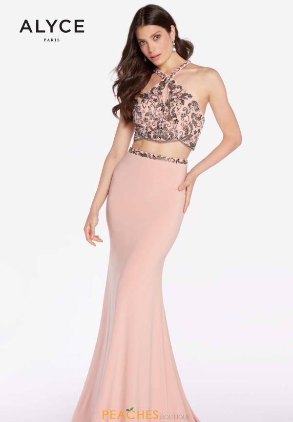 Alyce Paris Halter Beaded Dress 60018