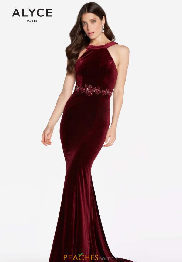 Alyce Paris Velvet Fitted Dress 60072
