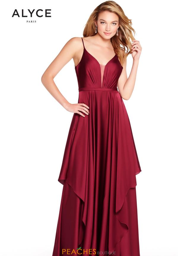 Alyce Paris V-Neck Chiffon Dress 60091