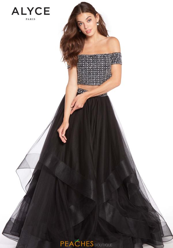 Alyce Paris Off the Shoulder Beaded Dress 60208