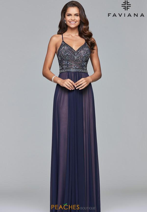 Faviana A Line Beaded Dress 10020