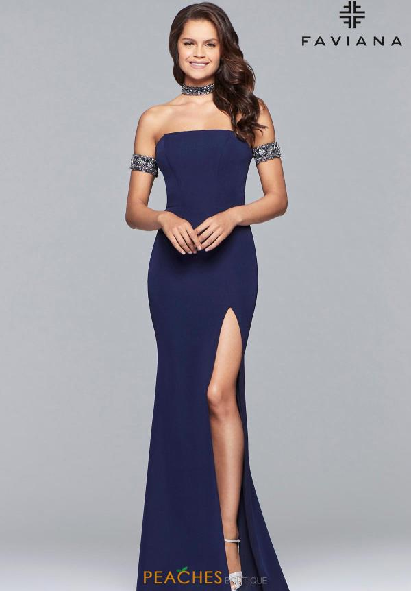 Faviana Cap Sleeve Jersey Dress 10037