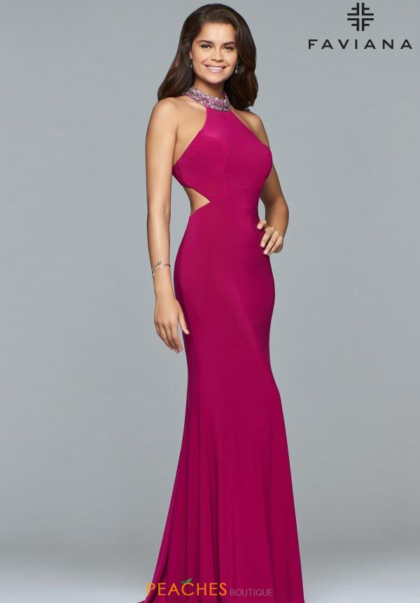 Faviana Fitted Halter Dress 10038