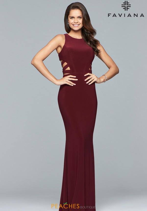 Faviana Open Back Jersey Dress 8018