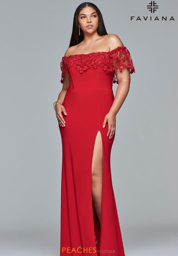 Faviana Off the Shoulder Jersey Dress 9422