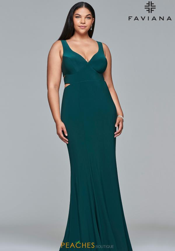 Faviana V-Neck Full Figured Dress 9429