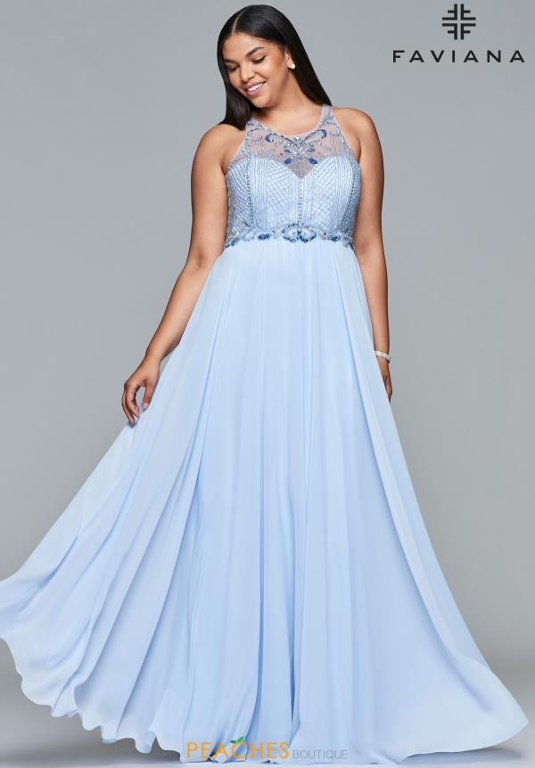 Faviana Full Figured Beaded Dress 9436