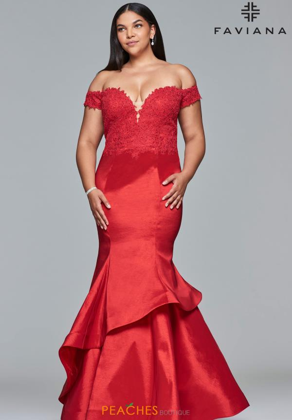 Faviana Off the Shoulder Mermaid Dress 9440