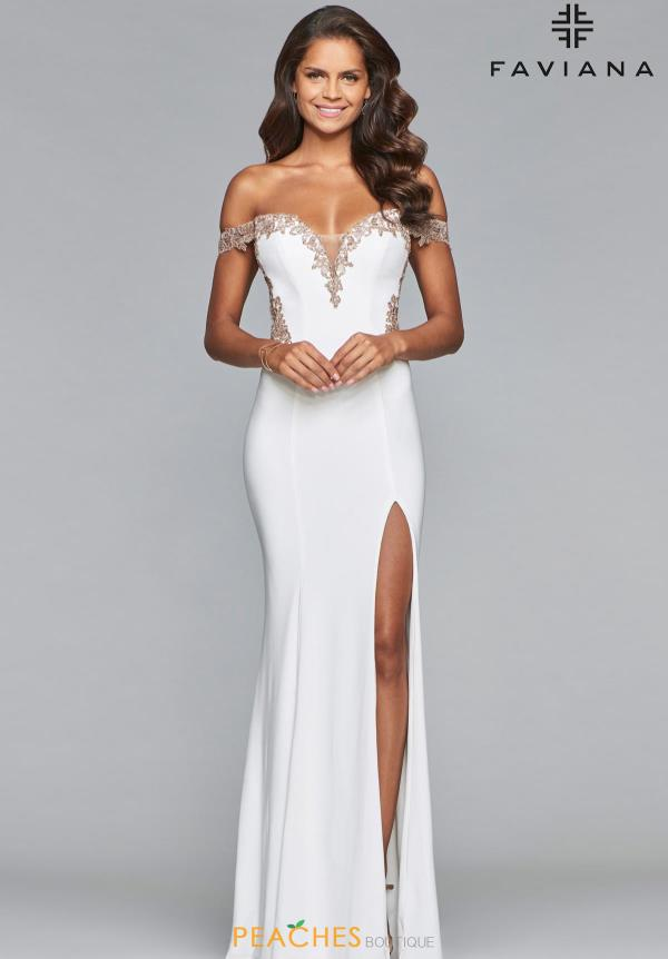 Faviana Off the Shoulder Beaded Dres S10001