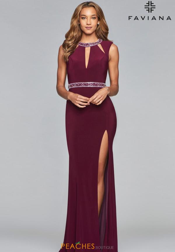 Faviana High Neckline Beaded Dress S10009