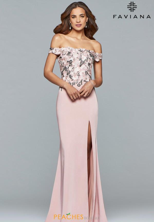 Faviana Off the Shoulder Applique Dress S10021