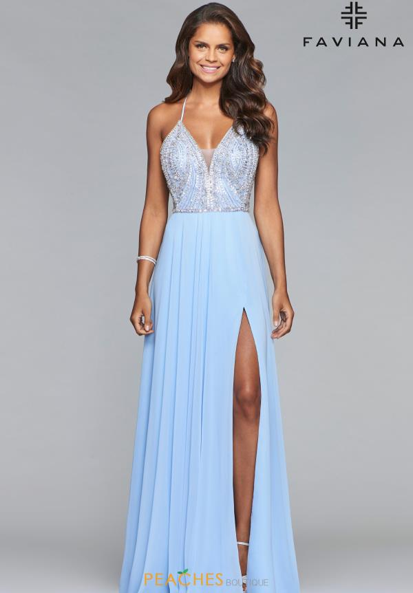 Faviana Beaded V-Neck Dress S10041