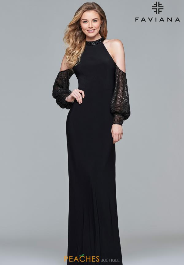 Faviana Long Sleeve Fitted Dress S10053