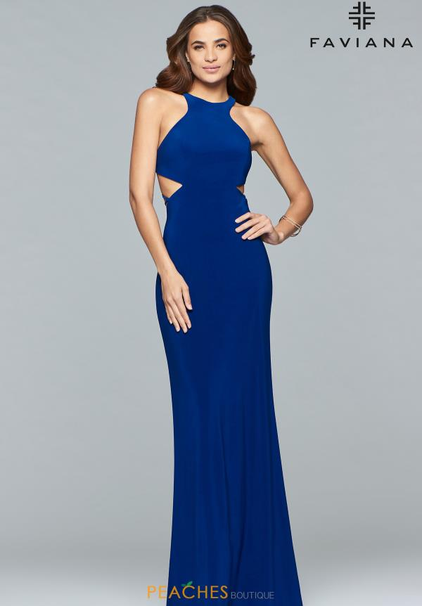 Faviana Halter Jersey Dress S10057