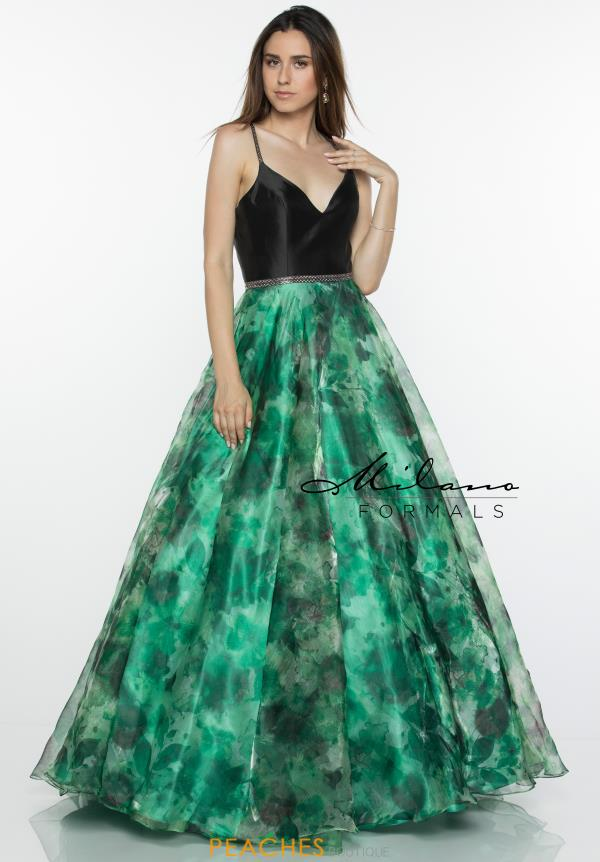 Milano Formals Green A Line Dress E2449