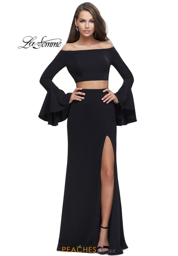 La Femme Long Sleeve Jersey Dress 25261