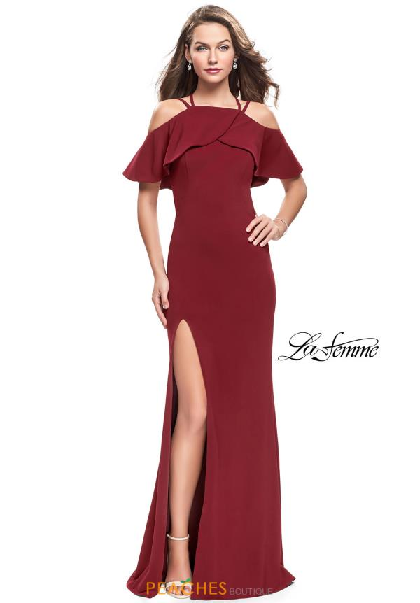 La Femme Off the Shoulder Fitted Dress 25556
