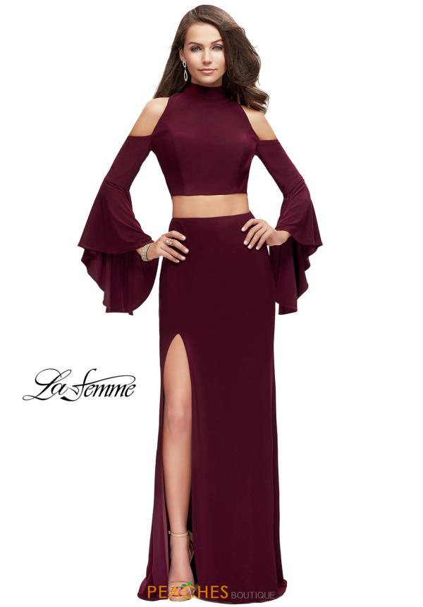 La Femme Long Sleeve Fitted Dress 25353