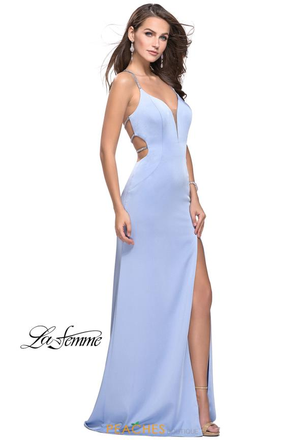 La Femme Jersey V-Neck Dress 25398