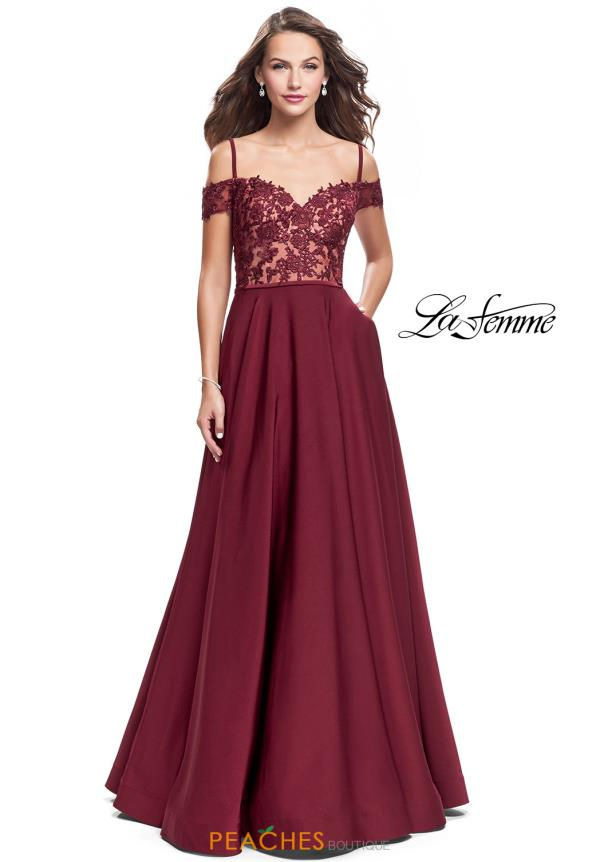 La Femme Lace Off the Shoulder Dress 25479