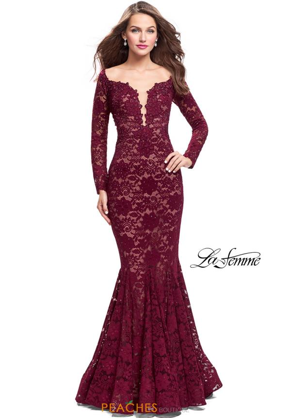 La Femme Long Sleeve Mermaid Dress 25607