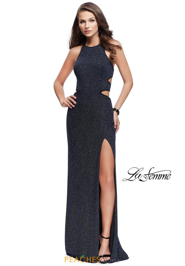La Femme High Neckline Fitted Dress 25619