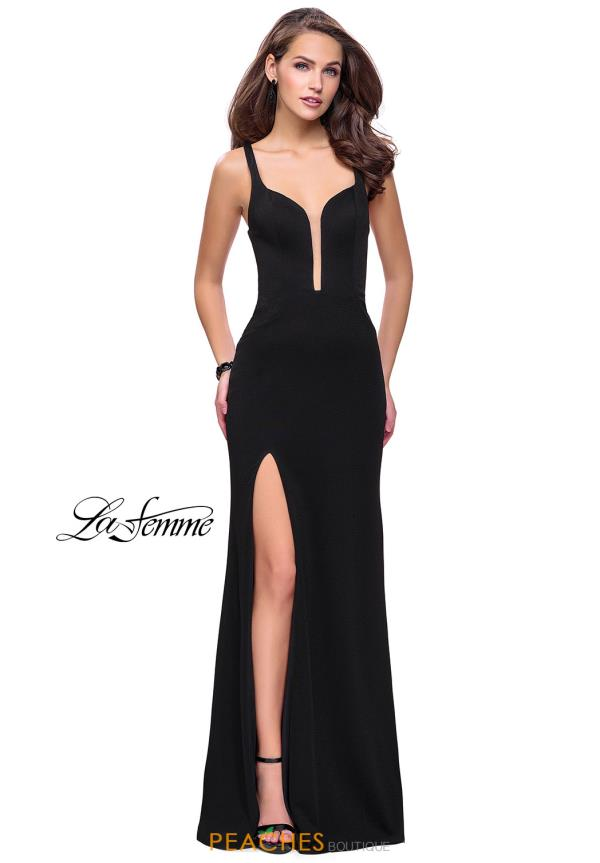 La Femme V- Neckline Fitted Dress 25720