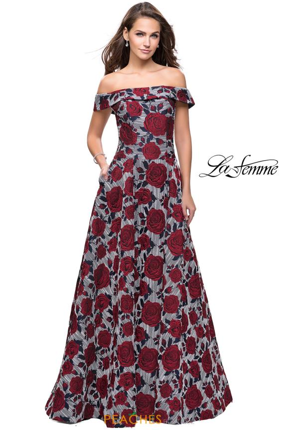 La Femme Long Floral Dress 25790