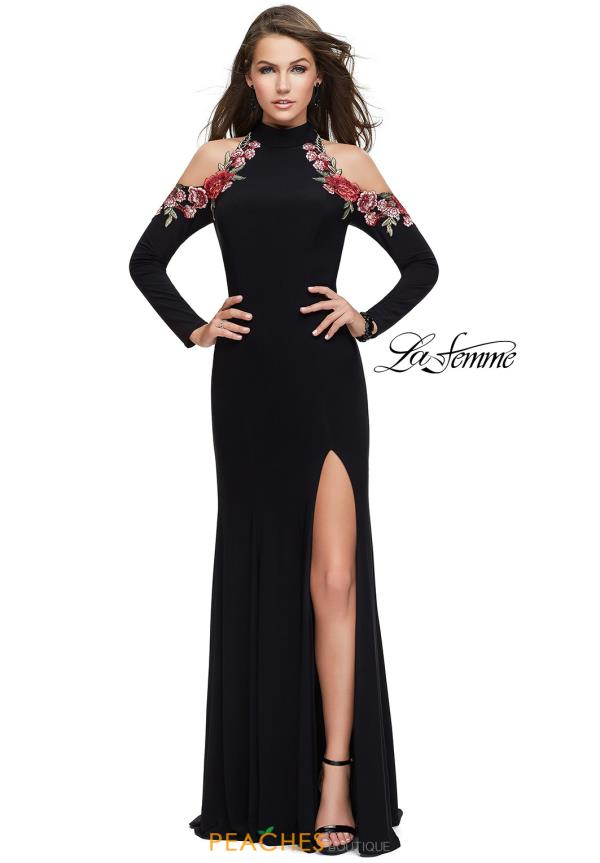 La Femme Long Sleeved Fitted Dress 25807