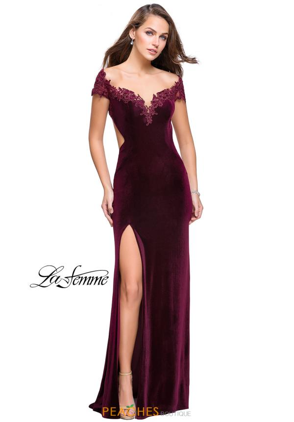 La Femme Long Velvet Dress 25823
