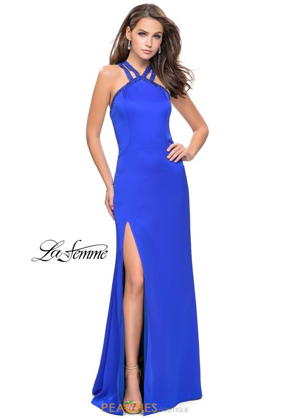 La Femme High Neckline Long Dress 25906