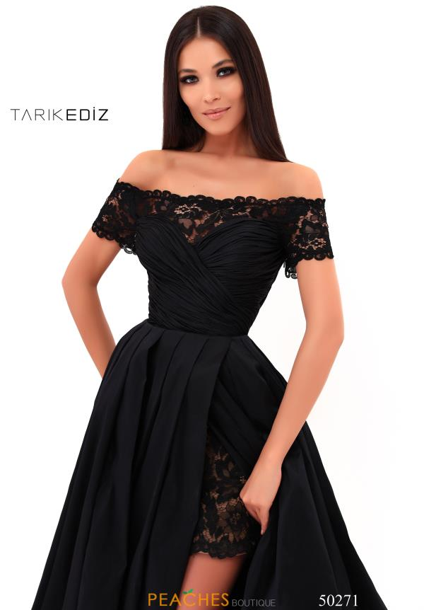 Tarik Ediz Off the Shoulder Lace Dress 50271