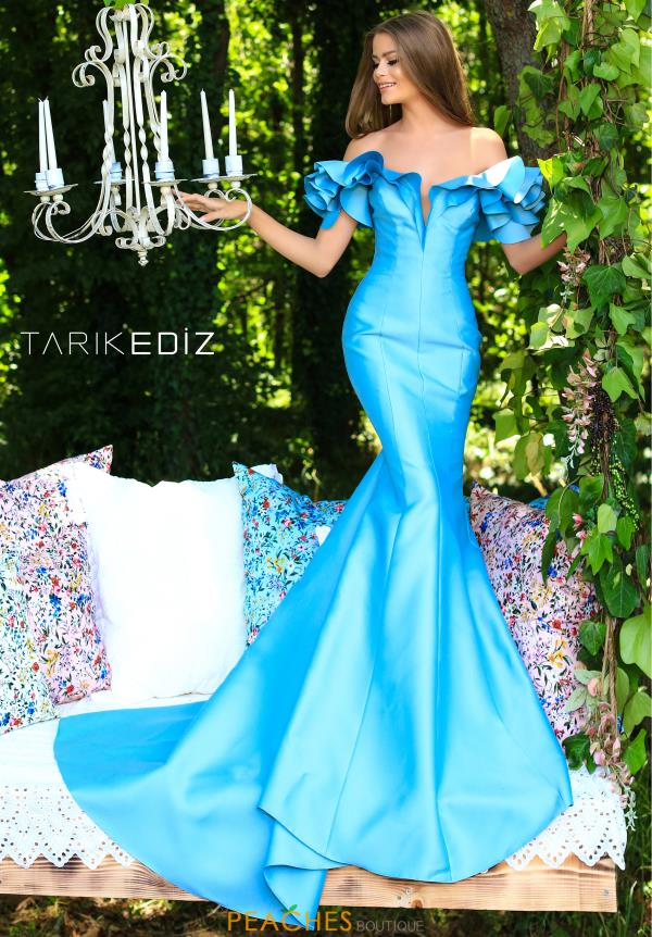 Tarik Ediz Off the Shoulder Long Dress 50298