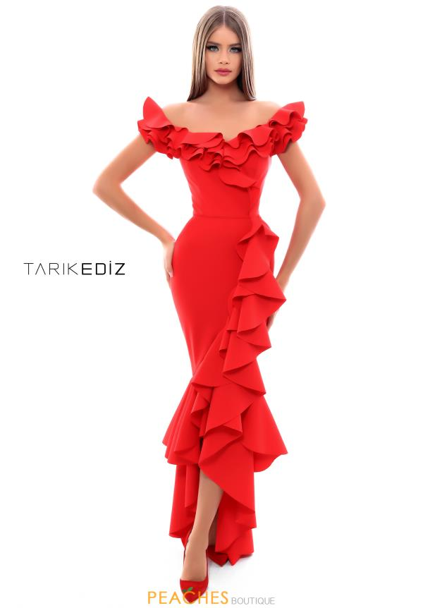 Tarik Ediz Cap Sleeve Fitted Dress 50350