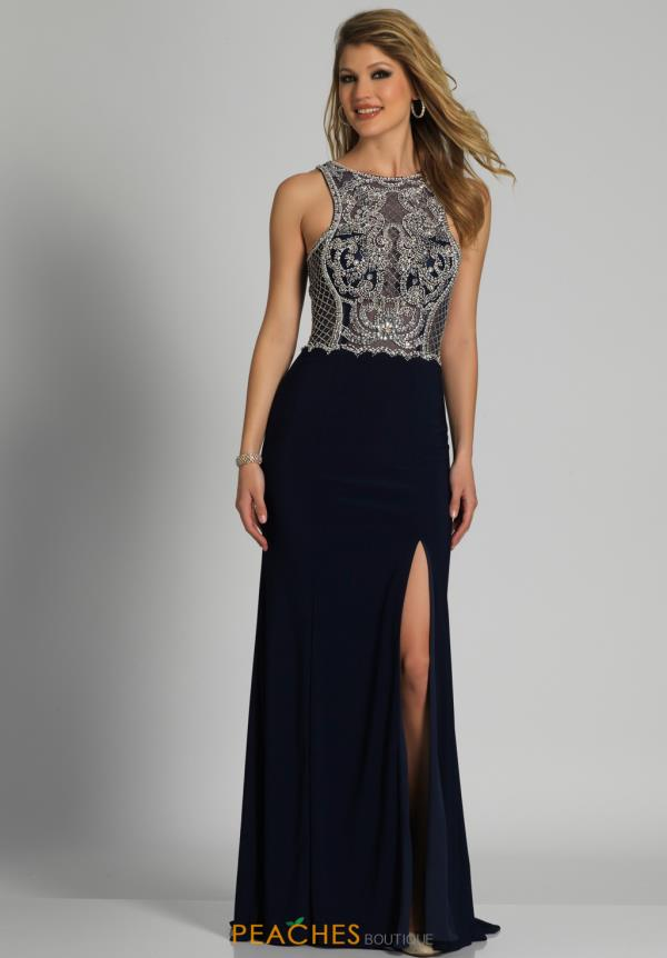 Fitted Beaded Dave and Johnny Dress A6036