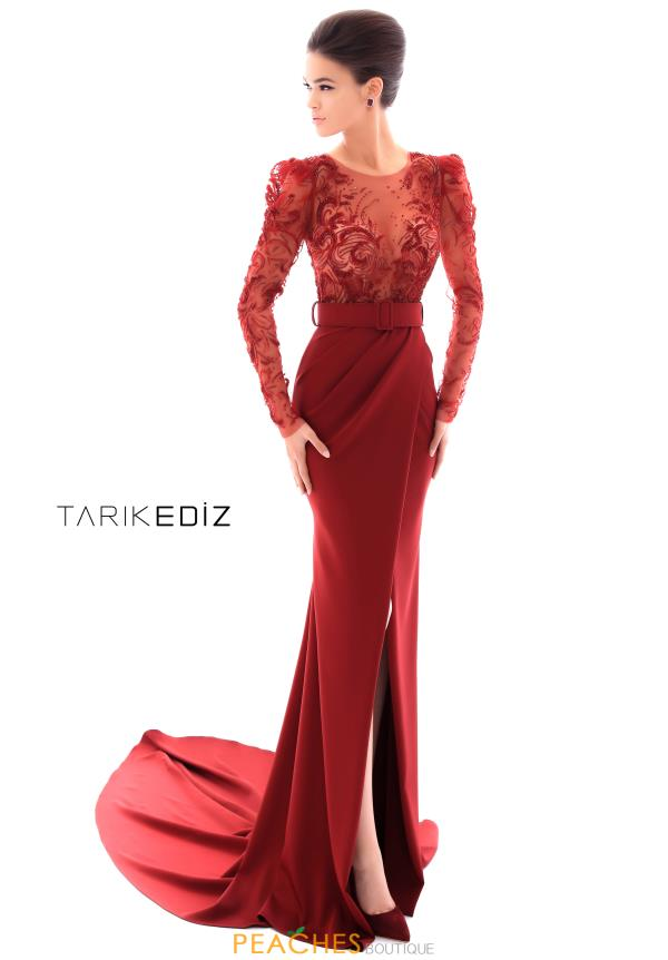 Tarik Ediz Long Sleeve Fitted Dress 93412