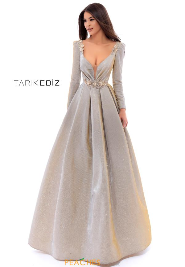 Tarik Ediz Long Sleeve V-Neck Dress 93433