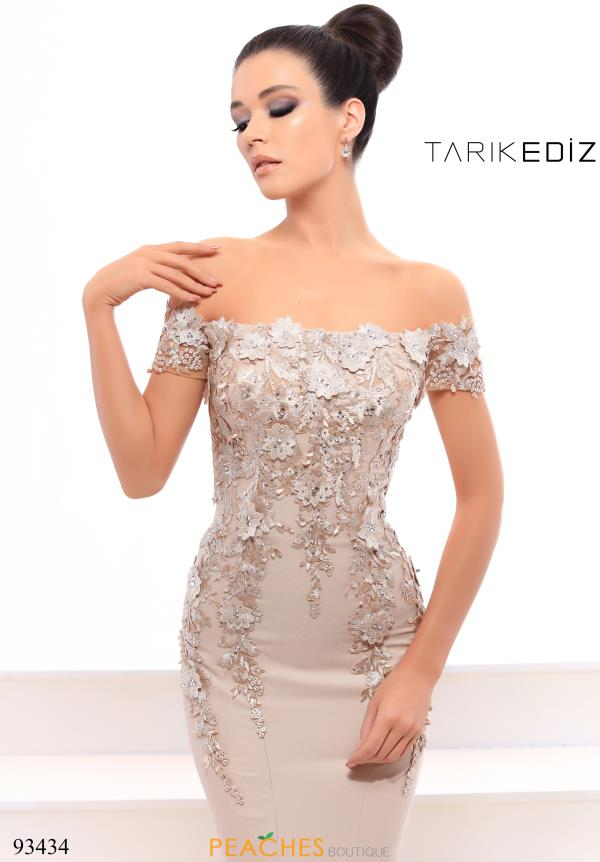 Tarik Ediz Off the Shoulder Beaded Dress 93434